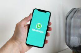 Person Holding Black iPhone displaying WhatsApp logo