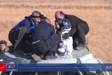 Russian film crew returns to Earth after shooting first film in space